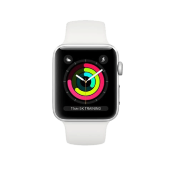 AppleWatch Series3 Silver Aluminium Case with White Sport Band