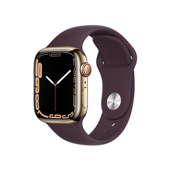Apple Watch Series 7 Gold Stainless Steel Case with Dark Cherry Sport Band