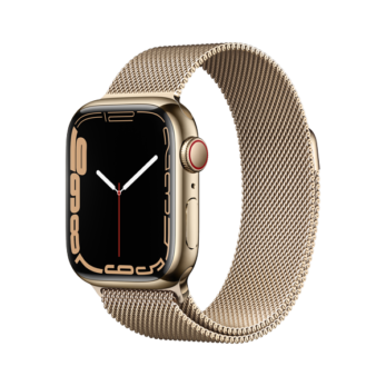 Apple Watch Series 7 Gold Stainless Steel Case with Gold Milanese Loop