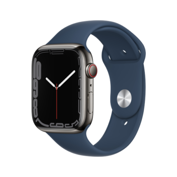 Apple Watch Series 7 Graphite Stainless Steel Case with Abyss Blue Sport Band