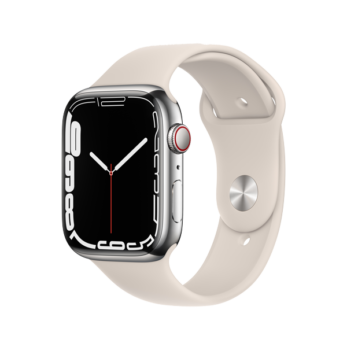 Apple Watch Series 7 Silver Stainless Steel Case with Starlight Sport Band