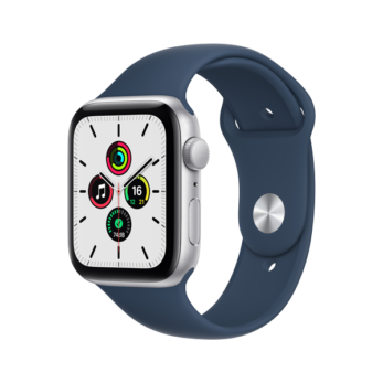 Apple Watch SE  Silver Aluminium Case with Abyss Blue Sport Band