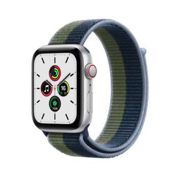 Apple Watch SE  Silver Aluminium Case with Abyss Blue/Moss Green Sport Loop